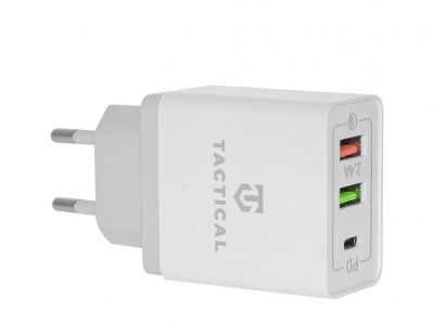 Адаптер 220v Tactical AR-QC-PD 2xUSB-A/USB-C QC 3.0 5.4 White